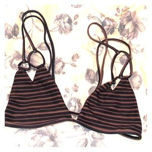 Acacia swimwear top brown and blacked stripes